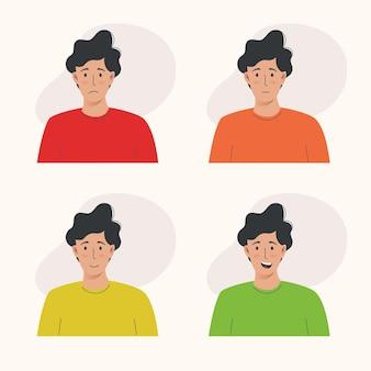 Молодой человек имеет различные выражения лица