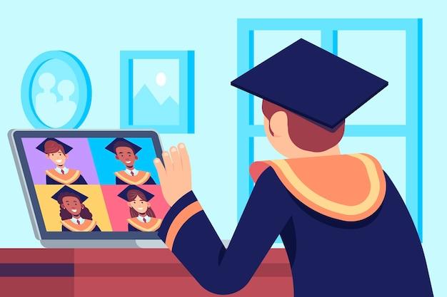 Giovane che ha la sua cerimonia di laurea online