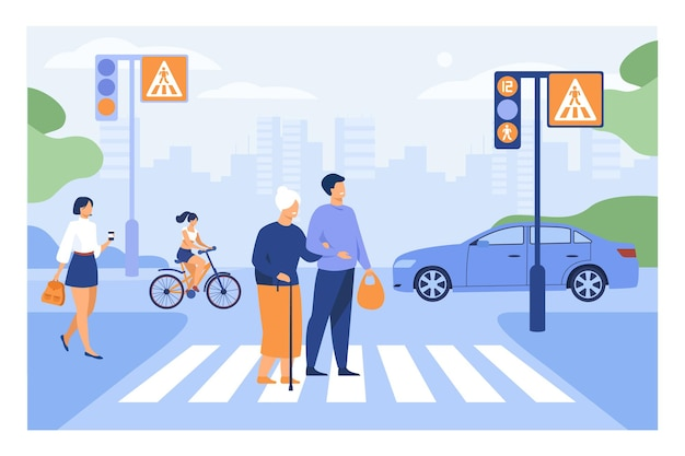 Young man helping old woman crossing road flat illustration. cartoon elderly walking town crosswalk with help of guy
