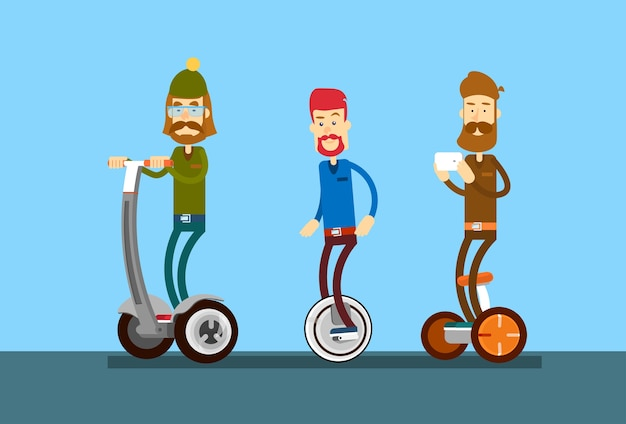 Young man hipster group ride segway motor scooter