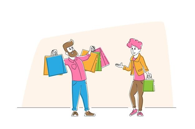 Молодой человек держит красочные сумки для покупок, разочаровавшись в подруге, делает сумасшедшие покупки