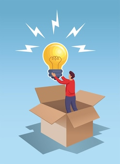 Young man holding big bulb lamp idea think out side the box vector illustration