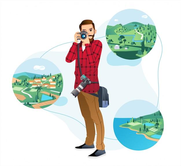 若い男がカメラを保持し、白い背景を持つ自然の風景で写真を撮る