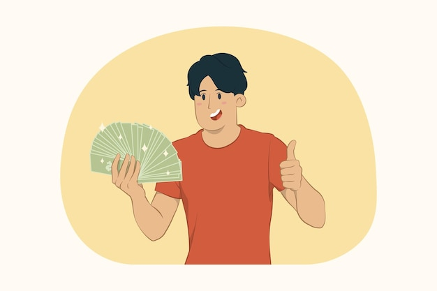 Young man holding fan of cash money showing thumb up concept