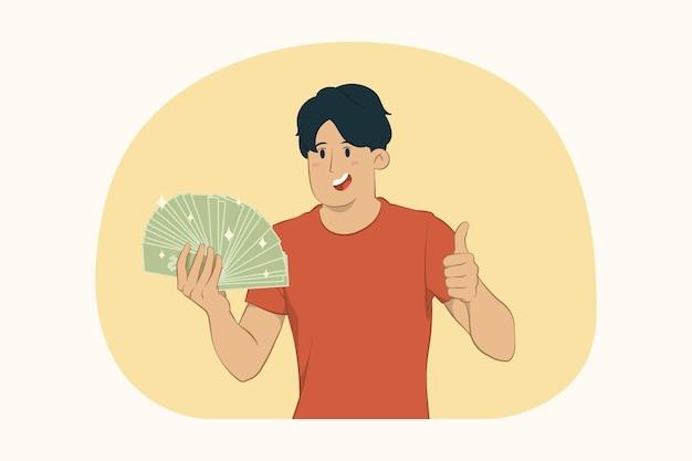 개념을 엄지 손가락을 보여주는 현금 돈의 팬을 들고 젊은 남자