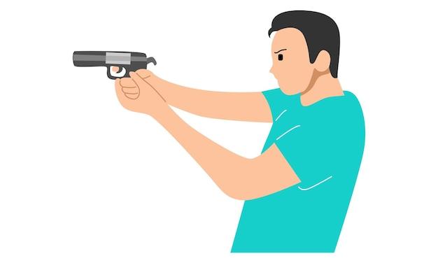 Young man holding the gun
