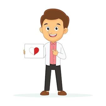 Молодой человек держит половинки одного сердца