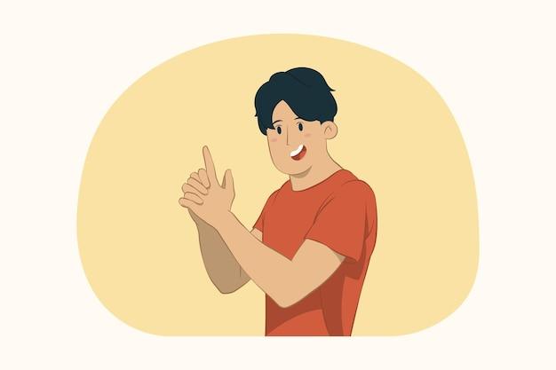 Молодой человек держится за руки, как пистолет