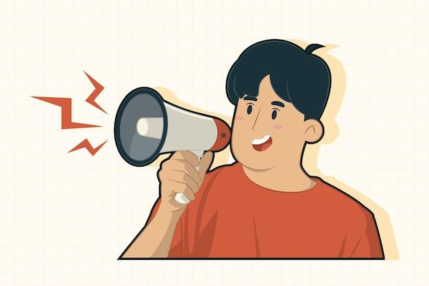 Молодой человек держит мегафон и объявляет