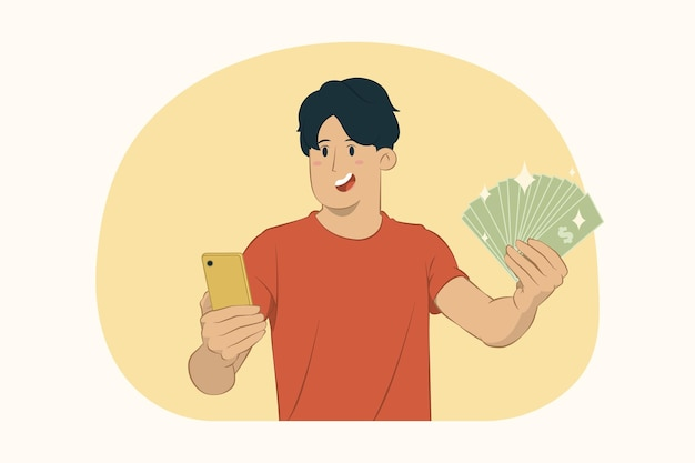 휴대 전화와 현금 돈을 들고 젊은 남자