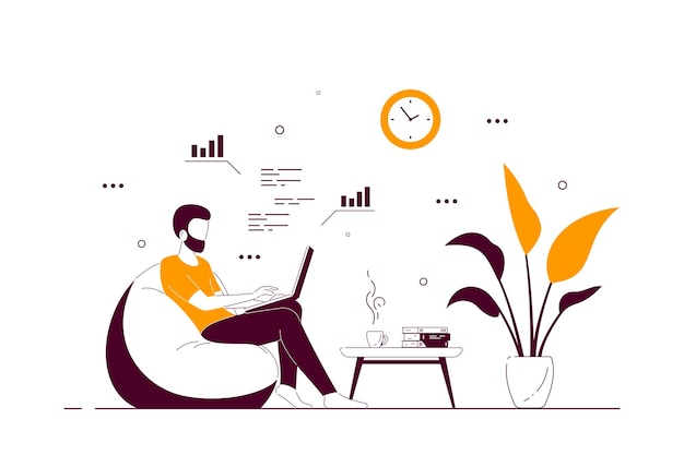 Young man at home sitting in chair bag and working on computer. remote working, home office, self isolation concept. flat style line art illustration, isolated on white background.