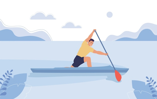 강에 떠 있는 보트에 있는 젊은이 조정 카누의 개념