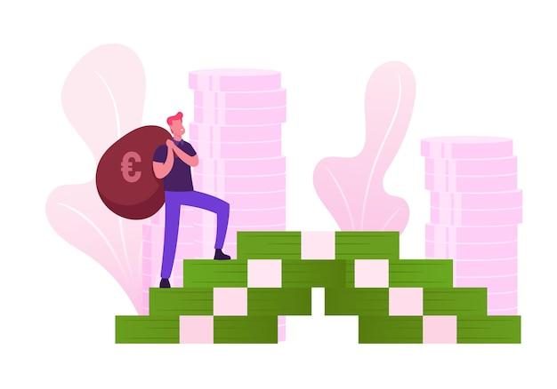 Молодой человек в повседневной одежде с сумкой, взбирающейся по лестнице огромных денежных банкнот, держащей мешок со знаком евро на спине. мультфильм плоский рисунок
