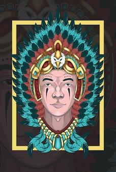 Молодой человек в костюме американских индейцев