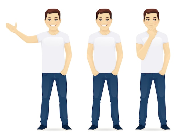 Молодой человек в джинсах, стоя в разных позах изолированы