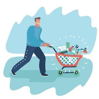 食料品でいっぱいのスーパー マーケットのショッピング カートを押す店の若い男