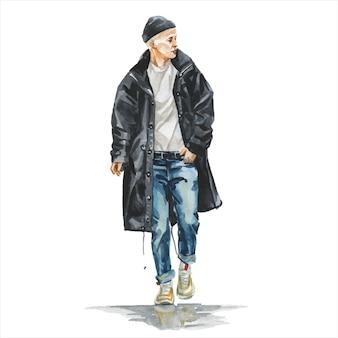 スタイリッシュな流行の服装の若い男