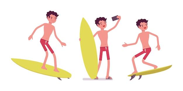 夏のビーチ服サーフィンの若い男