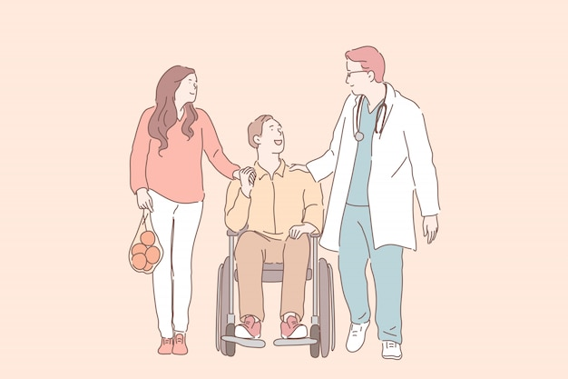 Молодой человек в инвалидной коляске с женой, разговаривать с физиотерапевтом.