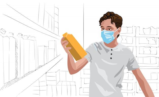 食料品店でいくつかの牛乳を見て防護マスクを身に着けている白いtシャツの若い男