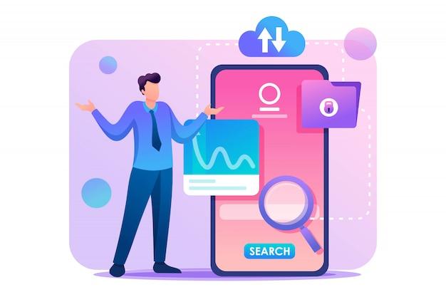 Молодой человек в растерянности у экрана телефона, ищет информацию. плоский характер концепция для веб-дизайна