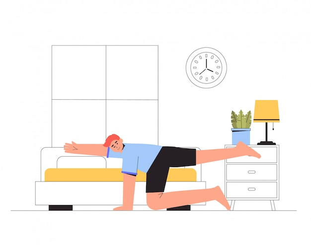 A young man is engaged in fitness in a cozy living room, modern interior.