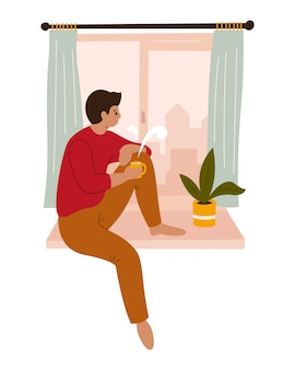A young man is looking through the window while sitting on the windowsill at home. hand-drawn color  illustration. quarantine. coronavirus. meditation, drinking coffee, tea. stay at home.