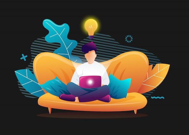 Молодой человек сидит с ноутбуком на диване у себя дома. работаю на компьютере. внештатный, онлайн-образование или концепция социальных медиа. иллюстрация на черном фоне