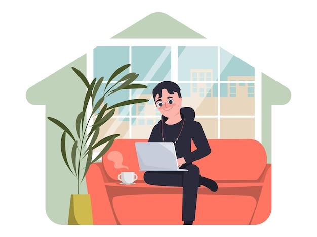 Молодой человек работает с ноутбуком на сиденье работа из дома