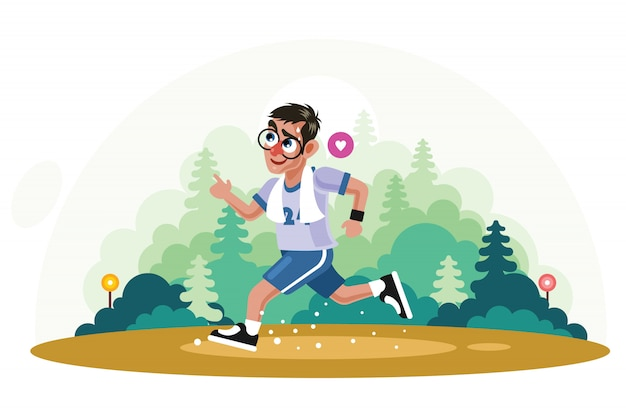 Young man jogging in park vector illustration