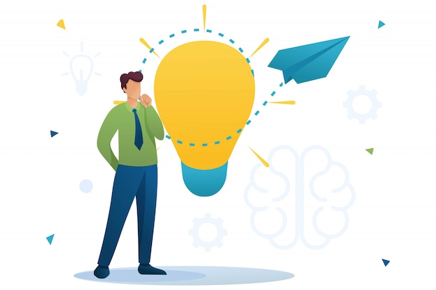 Young man launches a business idea, a business startup. brainstorm business ideas. flat character. concept for web design
