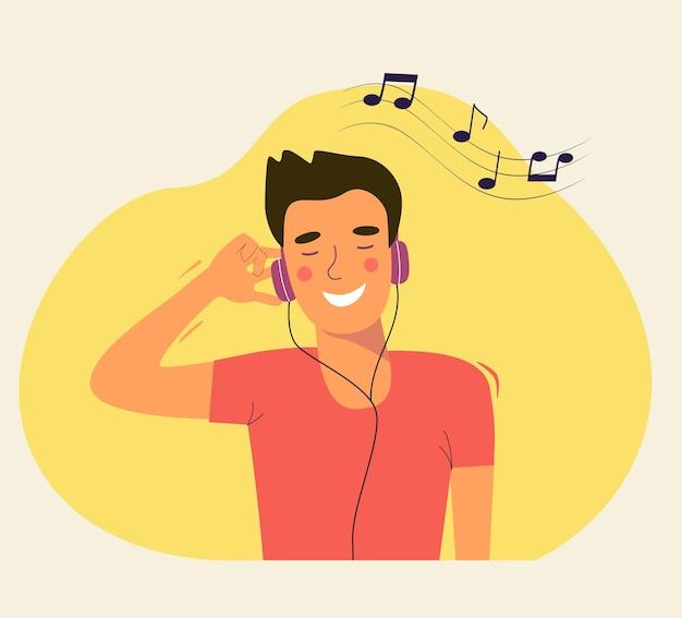 헤드폰으로 음악을 듣고 젊은 남자. 벡터 일러스트 레이 션