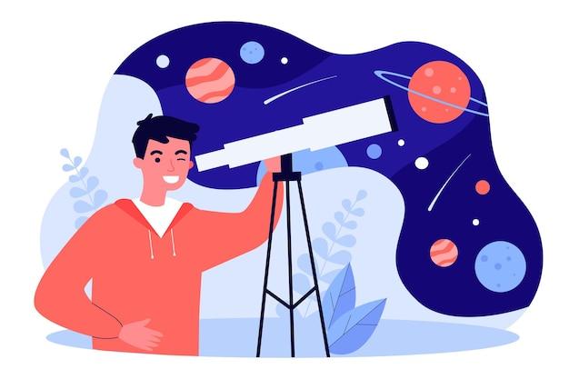망원경을 통해 별과 행성을 보고 있는 젊은 남자. 공간 평면 벡터 일러스트 레이 션을 관찰 하기 위해 장비를 사용 하는 소년. 천문학, 배너, 웹 사이트 디자인 또는 방문 웹 페이지에 대한 교육 개념