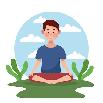 Young man in lotus position with leafs scene in the camp