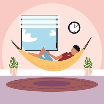 Young man lying on hammock in the room illustration illustration