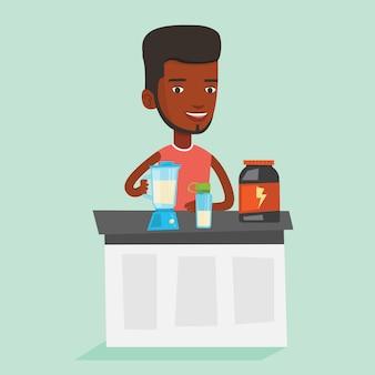 プロテインカクテルを作る若い男。