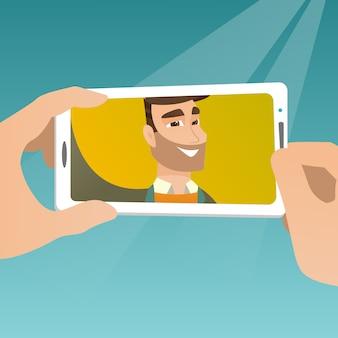Young man making selfie vector illustration.