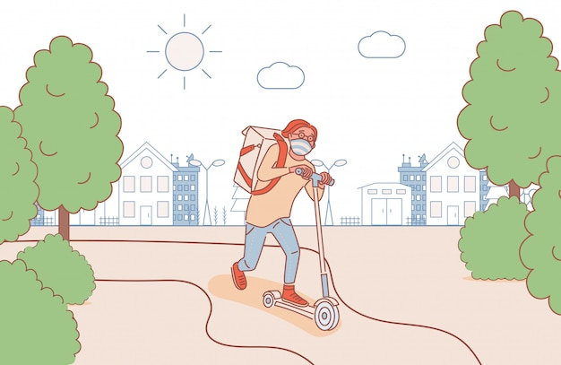 Young man in medical face mask riding on scooter outdoor and deliver products cartoon outline illustration.