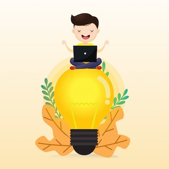 Young man meditating man sitting on abstract lamp. cloudy sky background. illustration, vector.