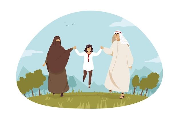 Young man muslim husband dad and arabic woman wife mom cartoon characters