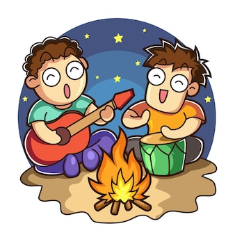 Young man near the fire playing music