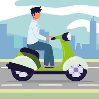 Молодой человек на мотоцикле