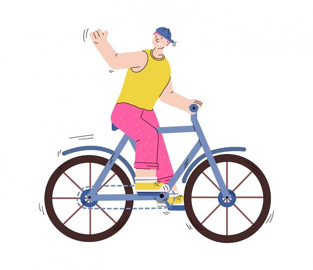 Велосипед катания персонажа из мультфильма молодого человека или парня, изолированная иллюстрация.