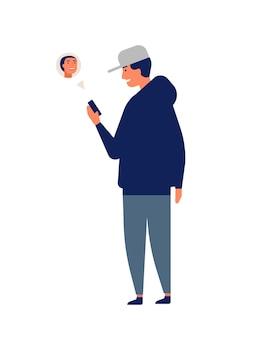 모자를 쓴 청년이나 십대는 온라인에서 채팅하거나 스마트폰이나 휴대전화로 문자를 보냅니다. 가제트와 남자입니다. 인터넷 통신, 인스턴트 메시징. 플랫 만화 다채로운 벡터 일러스트 레이 션.