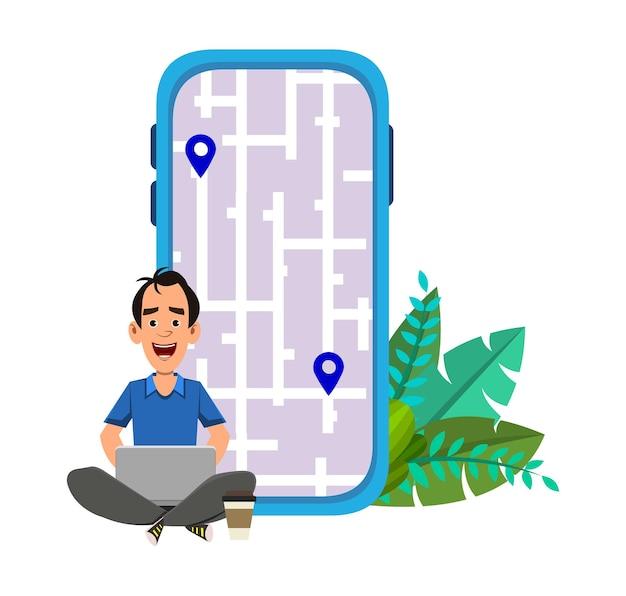 젊은 남자는 야외에 앉아 있거나 경로와 위치를 확인합니다. 지도와 함께 컴퓨터 및 모바일 응용 프로그램 사용 .
