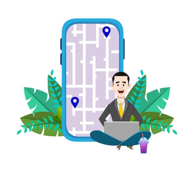 젊은 남자는 야외에 앉아 있거나 경로와 위치를 확인합니다. 지도와 함께 모바일 및 컴퓨터 응용 프로그램 사용 .