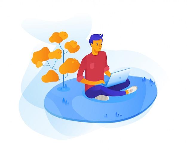 Молодой человек на открытом воздухе с иллюстрацией ноутбука