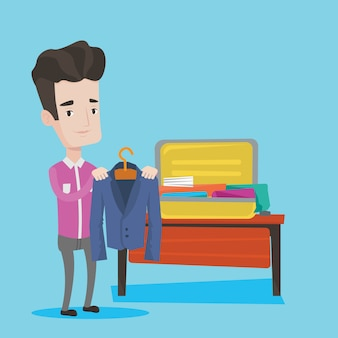 Young man packing his suitcase illustration
