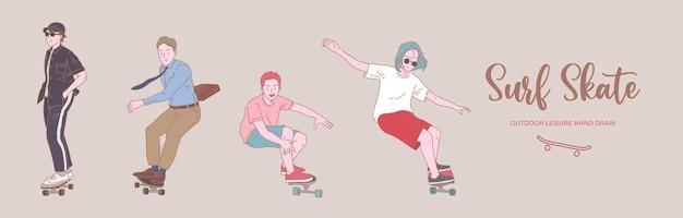 Люди молодого человека занимаются серфингом на коньках и скейтбордах представляют собой плоский набор в органическом стиле.