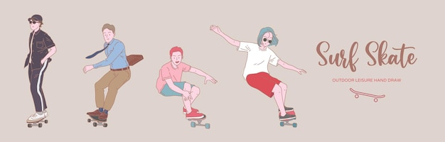Young man people surf skate and skateboard pose organic style flat set illustration.